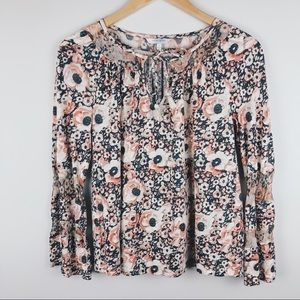 LUCKY BRAND Floral Long Sleeve Front Tie Blouse